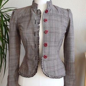 Kohl's My Michelle Clinch Waist Plaid Blazer Coat